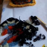 Old yarn is very frail when cut away.