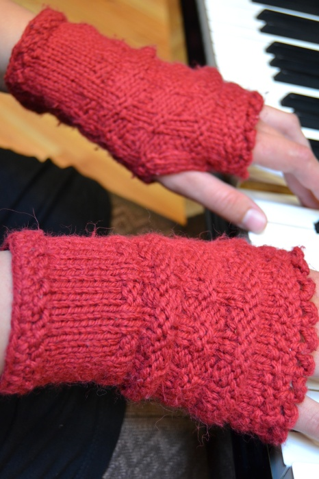 Katharina's handwarmers, close up.