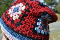 Close up of the first granny square hat creation