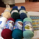 Ally's Christmas present (2012), the front four large rolls of yarn