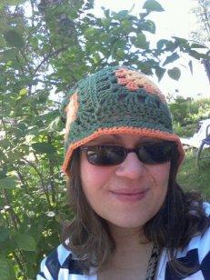 The latest hat: brim useful in the sunshine.