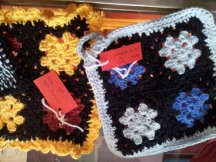 Some decorative potholders.