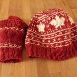 Marie Handwarmers and Hat Canadian Leaves