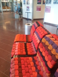 At the airport: prophetic woven chairs!