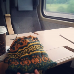 The train ride up: knitting time.