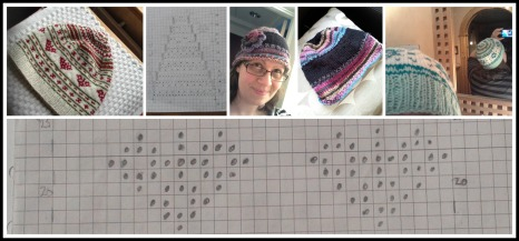 Charting hat designs.