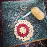 Making the mandala on Sara's fleece-lined chairs.