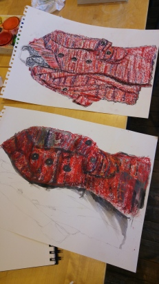 First try at using a water colour wash over oil pastel and my original drawing.