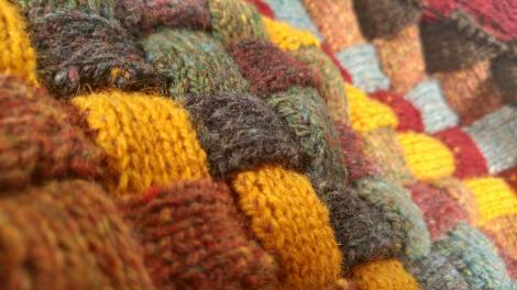 Entrelac close up.