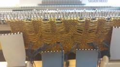 Cable knitting, rear view.