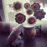 Flowers I made, pig made by my mum!