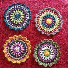 "Coasters from ""Round and Round the Crochet Hook."""